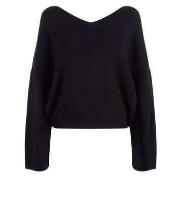 Black Wide V Neck Jumper New Look