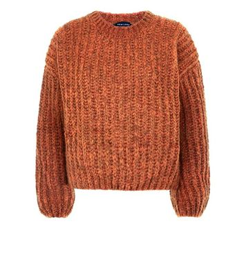 Rust Deep Ribbed Jumper New Look