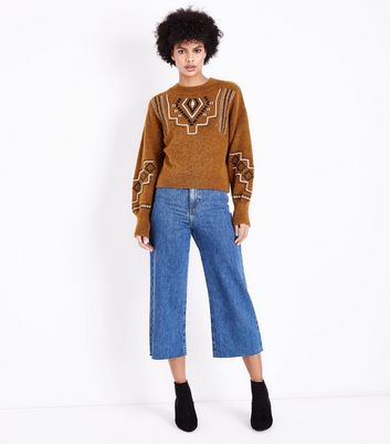 Brown Aztec Embroidered Balloon Sleeve Jumper New Look