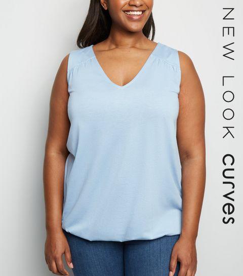 3853c8327b004 ... Curves Blue V Neck Bubble Hem Vest ...