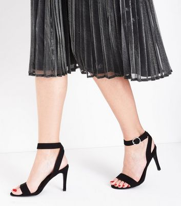 Black Suedette Circle Buckle Heeled Sandals New Look