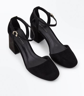 Black Suedette Cut Out Back Round Toe Heels New Look