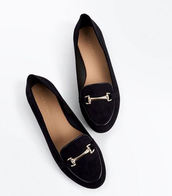 Black Suedette Piped Bar Front Loafers New Look