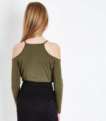 Teens Khaki Lattice Front Cold Shoulder Top New Look