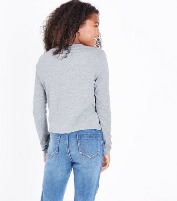 Teens Grey Long Sleeve Twist Front Top New Look