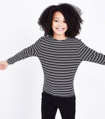 Teens Black Stripe Long Sleeve Top New Look