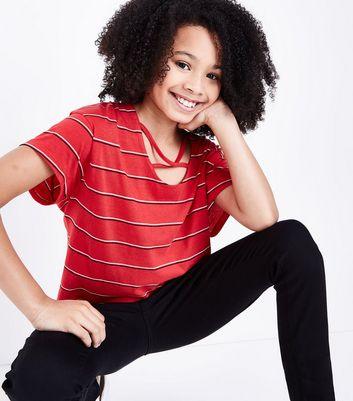 Teens Red Stripe Lattice Front T-Shirt New Look
