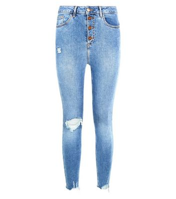 Petite Blue Ripped Button Front High Waist Skinny Jeans New Look