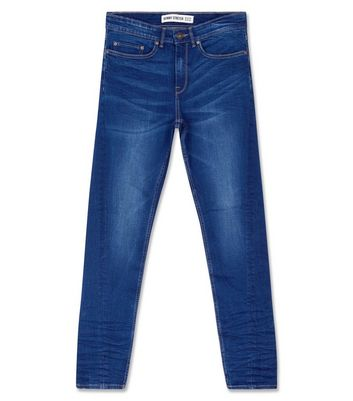 Dark Blue Twisted Seam Skinny Jeans New Look
