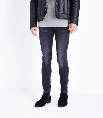Black Twisted Seam Stretch Skinny Jeans