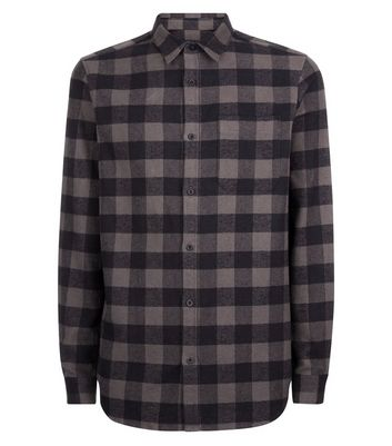 Charcoal Grey Check Shirt New Look