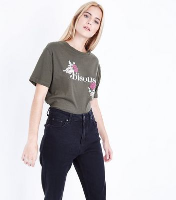 Olive Green Bisous Print Boyfriend T-Shirt New Look