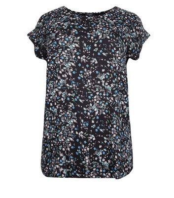 Curves Black Ditsy Floral Woven Front T-Shirt New Look