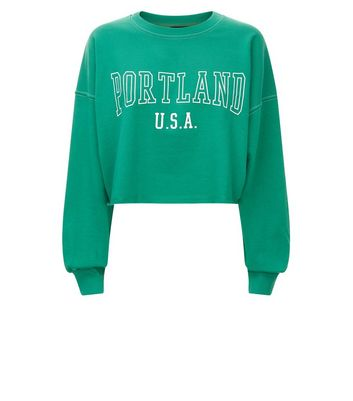 Green Portland Print Cropped Sweatshirt New Look