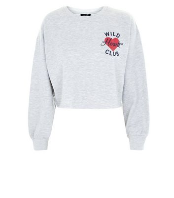 Grey Wild Hearts Club Logo Cropped Sweatshirt New Look
