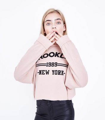 Teens Shell Pink Brooklyn Print Sweater New Look