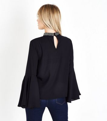 Petite Black Beaded Choker Neck Bell Sleeve Top New Look
