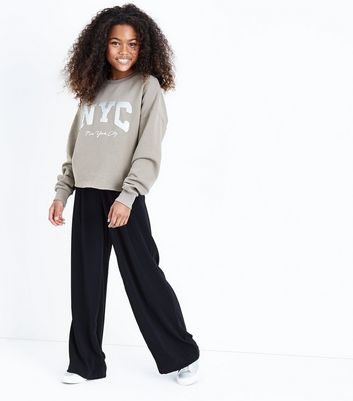 Teens Sequin Embellished NYC Sweatshirt New Look