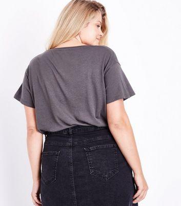 Curves Dark Grey Choker Neck T-Shirt New Look