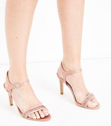 Wide Fit Rose Gold Satin Sequin Strap Sandals New Look
