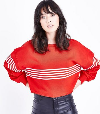 Red Stripe Cropped Sweatshirt New Look