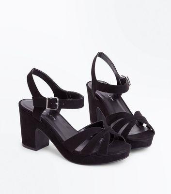 Wide Fit Black Suedette Platform Block Heels New Look