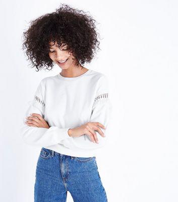 Cream Crochet Sleeve Sweatshirt New Look