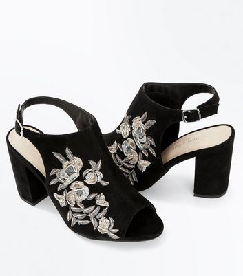 Wide Fit Black Comfort Flex Suedette Floral Embroidered Heels New Look