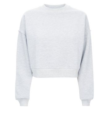 Grey Marl Brushed Cropped Sweatshirt New Look