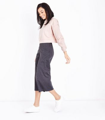 Shell Pink Brushed Cropped Sweatshirt New Look