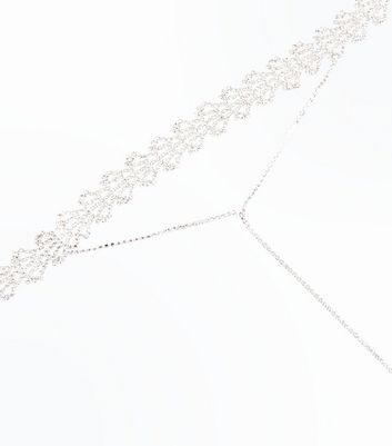 Silver Diamante Embellished Drop Choker Necklace New Look