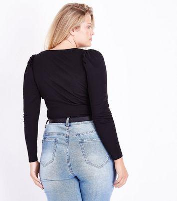 Curves Black Puff Shoulder Long Sleeve Top New Look