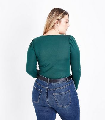 Curves Green Puff Shoulder Long Sleeve Top New Look