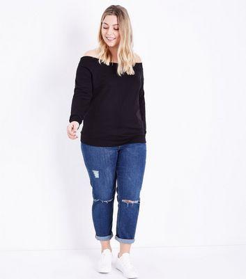 Curves Black Bardot Neck Sweatshirt New Look