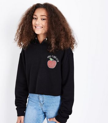 Black Apple-Y Ever After Slogan Hoodie New Look
