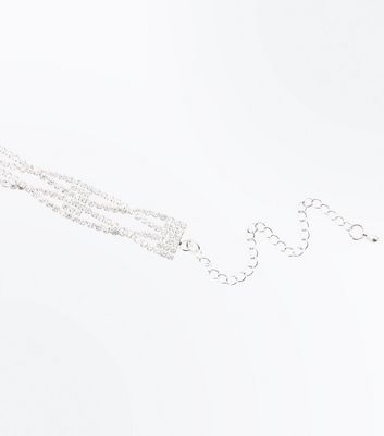 Silver Cubic Zirconia Twisted Row Choker