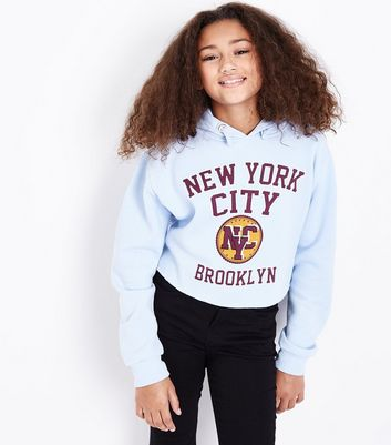 Teens Pale Blue New York Print Hoodie New Look