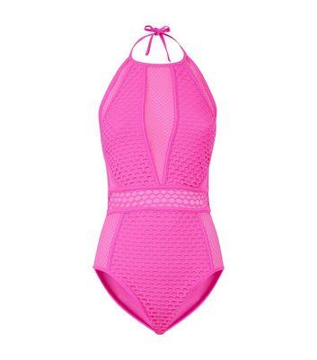 Pink Neon Mesh High Neck Swimsuit New Look