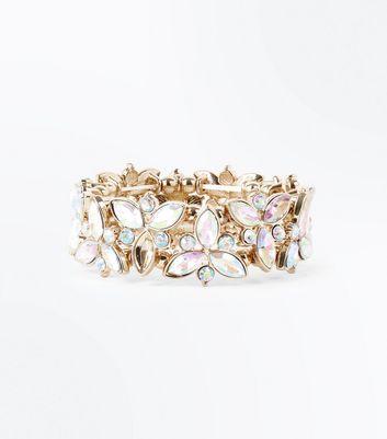 Gold Iridescent Gem Floral Stretch Bracelet New Look