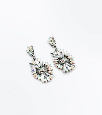 Silver Iridescent Gem Embellished Chandelier Earrings New Look