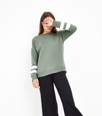 Khaki Colour Block Sleeve Sweatshirt New Look