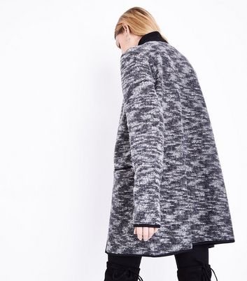 Tall Black Woven Collarless Coat New Look