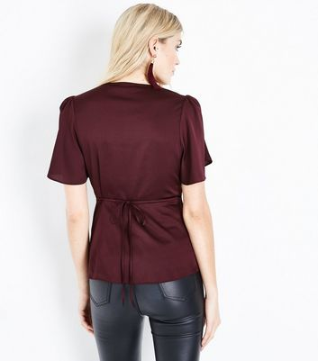 Tall Burgundy Satin Button Front Blouse New Look