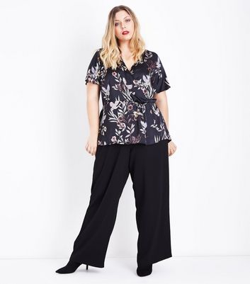 Curves Black Floral and Bird Print Wrap Front Top New Look