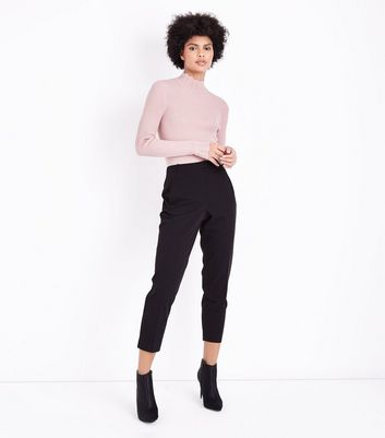 Pink Ribbed Scallop High Neck Jumper New Look