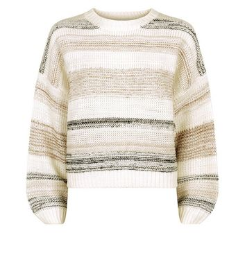 Off White Marl Stripe Jumper New Look