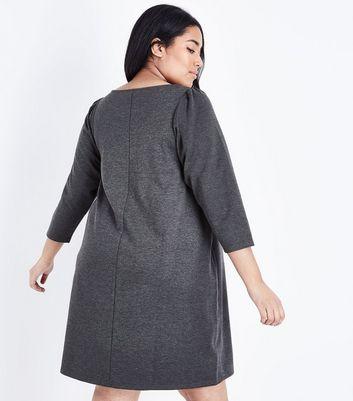 Curves Grey 3/4 Sleeve Jersey Tunic Dress New Look
