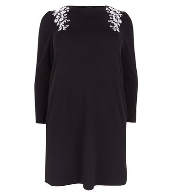 Curves Black Embroidered Puff Sleeve Tunic Dress New Look