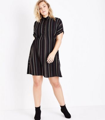 Curves Black Stripe Toggle Waist Shirt Dress New Look