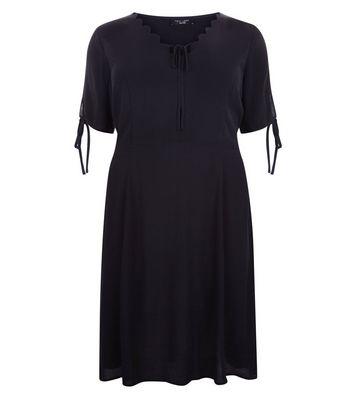 Curves Black Scallop V Neck Tea Dress New Look